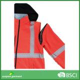Куртка раковины безопасности высоко видимая отражательная мягкая