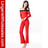 Chemise de vêtements de nuit de Comfor des femmes de mode longue outre de lingerie sexy réglée de pyjama d'épaule