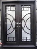 新しいデザインアークの青い反射ガラスが付いている上の錬鉄の複式記入の前ドア