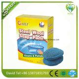 Rosafarbene Puder-Stahlwolle-Seifen-Auflagen