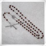 Деревянный Rosary с шариками прямоугольника Brown и перекрестным деталем (IO-cr241)