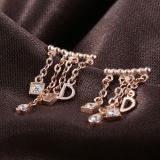 女性の方法ローズの金はイヤリングに文字を入れる