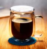 Рот дуя кружка кофеего боросиликатного стекла двойной стены высокая