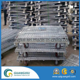 Recipiente de armazenamento Stackable de dobramento do metal do engranzamento de fio com rodas