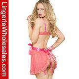 Lingerie latérale sexy de découpage de Babydoll de Halter de satin de maille de l'extension des femmes