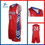 빨간색 주문을 받아서 만들어진 디자인 가득 차있는 승화 농구 고정되는 Jerseys