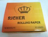 Papier de roulement de la meilleure qualité mince de taille régulière, papier arabe de gomme de Natual