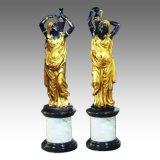 (r) 촛대 동상 여성 촛대 청동 조각품 TPE-027
