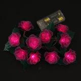 O diodo emissor de luz ilumina a decoração do feriado da luz da corda de Rosa da luz da bateria do diodo emissor de luz