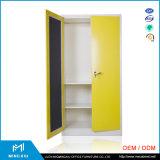 ミラー/振動ドアの鋼鉄ワードローブが付いているMingxiuの低価格2のドアのワードローブ