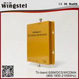 Tri-Band 900/1800 / 2100MHz Téléphone cellulaire 2g 3G 4G Amplificateur de signal mobile