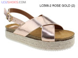 Nuovi ultimi sandali della corda della canapa dell'alto tallone delle signore di disegno