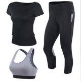 La yoga de nylon de la yoga de la alta calidad gris del sujetador jadea a mujeres Legging