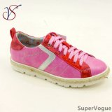 Trois Chaussures Couleur Loisirs Mode Femmes Lady avec Lin Ab17s08-003-Fuxia