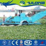 Hyacinth do navio e da água do rio da ceifeira de Weed do lago que coleta o navio para a venda