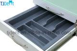 A parte superior inoxidável do vidro Tempered de corpo de aço com móvel do defletor conserva o gabinete dental durável da clínica (GD012)