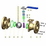 Aço inoxidável de JIS 10k que flutua a extremidade cheia da flange de válvula da esfera do furo