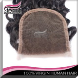 , Remy 머리 연장 꼬부라진, 브라질 Virgin 머리 깊은 곳에서 레이스 마감 도매 Virgin 머리