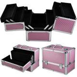 Caja colorida del maquillaje de la fábrica de Guangzhou/rectángulo cosmético/caja de herramientas de aluminio (Tfac-3612)