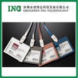 Suporte de cartão plástico da identificação com colhedor para o cartão da identificação do empregado