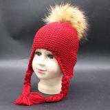 ホーム子供は好む屋外の子供の幼児の幼児のイヤーマフの女の子の男の子の実質の毛皮POM POMのペルーの帽子のEarflapsの冬の雪のスキー帽子(HW605)を