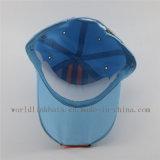 Kundenspezifische hellblaue laufende Baseballmütze mit gesponnenem Kennsatz/Marke