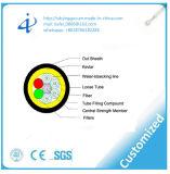 Cable óptico aéreo de fibra del solo modo ISO9001-2000 con la base 12
