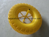 강철 변죽을%s 가진 황색 3.50-8 PU 거품 바퀴
