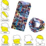 中国のバンダナの工場製造者はロゴによって印刷された淡黄色の首の管のスカーフをカスタマイズした
