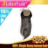 Fechamento livre partido amarrado Lbh 267 do laço do cabelo do Virgin mão brasileira