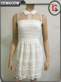 2017人の新しい方法上品な女性の白い服のレースの網のパッチワークの袖なしのパーティー向きのドレス