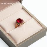 El rectángulo de lujo Hande hizo la caja de embalaje del regalo de cuero falso de la joyería