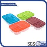 Utilização alimentar de 3 compartimentos e caixa de almoço do material plástico