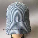 boné de beisebol 100%Cotton na tela da listra com a curvatura do metal (LY074)