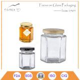 vasi esagonali di vetro del miele 60ml con la protezione
