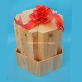 O GV examinou a caixa de madeira vermelha antiga luxuosa do vinho do fornecedor