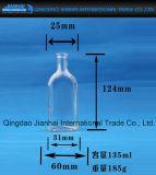 Frasco de vidro transparente para a cerveja e a bebida