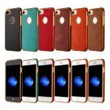 Мягкий случай галактики J5 J7 Samsung аргументы за масла металла iPhone 6 6splus 7 7plus TPU аргументы за телефона TPU кожаный (XSDD-085)
