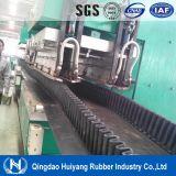 Banda transportadora de goma enlistonada flanco de la industria del cemento