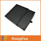 Boîte-cadeau de papier coulissante de luxe noire faite sur commande de tiroir avec le logo UV d'endroit