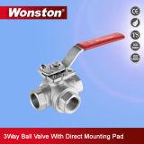 Vávula de bola de la manera del acero inoxidable 3 con el postizo de montaje directo