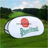 飛び出る旗が屋外の表示ばねファブリック立場によってがフレームの印の地平線の立場現れるゴルフスポーツを広告する旗をカスタム設計しなさい