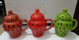 vaso di vetro del girasole rosso 300ml con il coperchio di vetro per la bevanda