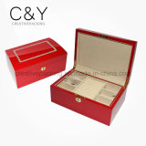 Коробка хранения Jewellery красного лака кристаллический деревянная