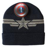 Chapéu feito malha acrílico bordado logotipo personalizado do Beanie da dobra do Snowboard preto dos esportes