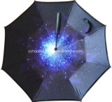 New Double Layer Straight Waterproof Windproof C Handle Inverted Umbrella