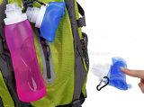 Opvouwbaar Kleurrijk Silicone die de Fles van de Drank van de Sport van het Water van de Samendrukking vouwen