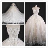 Платье венчания мантии без бретелек выпускного вечера шарика шнурка цветка шариков Bridal