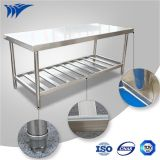 Montagem de mesa de trabalho de aço inoxidável com fibra de vidro