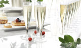 Plástico duro flauta de champán de 1 pedazo, 5oz capacidad, claro